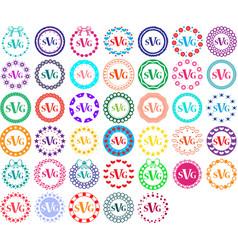 monogram frames color circle set art vector image