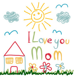 Mothers day card made by a child vector