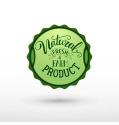 Natural fresh and farm food badge vector image