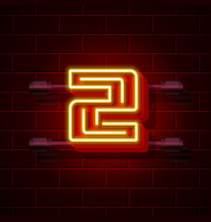 neon city font number 2 vector image