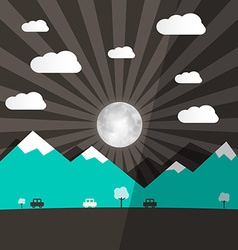 Night Landscape with Full Moon - Mountains and vector image
