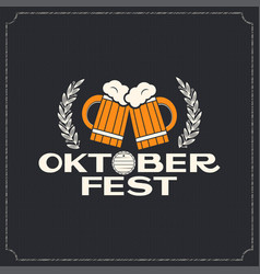 Oktoberfest beer mugs logo design background vector