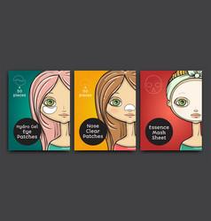 Packages design cartoon beauty woman vector
