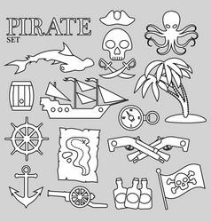 pirate contour set for decoration design print vector image