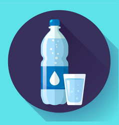 plastic bottle and glass water water drop sign vector image