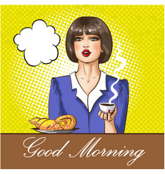 pop art good morning concept vector image