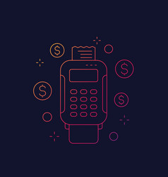 Pos terminal payments linear icon vector