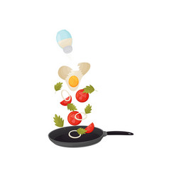 poured egg tomatoes and onions in pan vector image