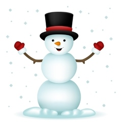 Realistic Snowman Happy Cartoon New Year Toy vector