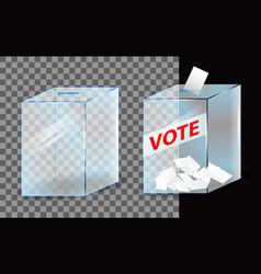 realistic vote box or glass ballot box transparent vector image
