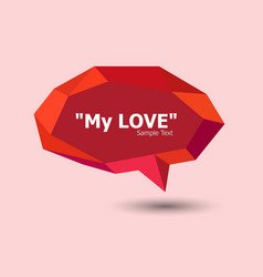 red polygonal geometric speech bubble vector image