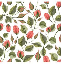 Rose flower seamless pattern vector