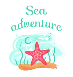 Sea adventure starfish deep down sea seastar vector