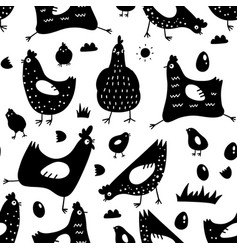 Seamless pattern with chickens roosters eggs vector
