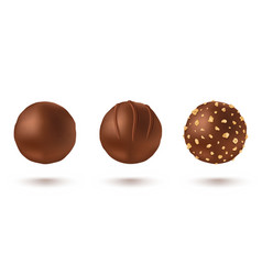 Set chocolate candies in realistic style vector