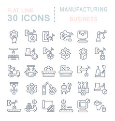 set line icons manufacturing business vector image