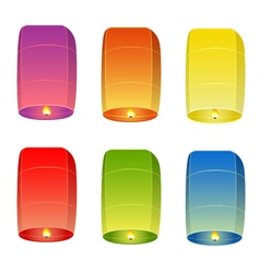 Set of colored sky lanterns vector