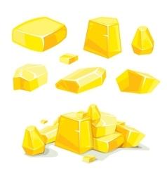 Set of different golden boulders vector
