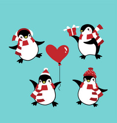 set of penguins in winter custom for christmas vector image