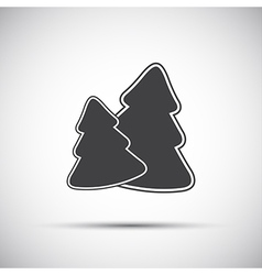 Simple grey icon of two christmas tree vector image