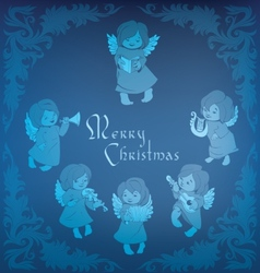 Singing angel ornamental coner Christmas vector