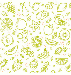 sketch mixed fruits seamless summer pattern vector image