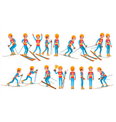 skiing male player winter games competing vector image