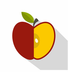 Sliced red apple icon flat style vector