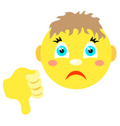 smiley boy with thumb thumb down vector image