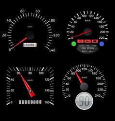 speedometers black various scales vehicles vector image
