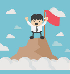 successful businessman stands on top of a hill vector image