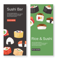 sushi bar set banners vector image