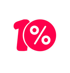 ten percent off discount or offer label vector image