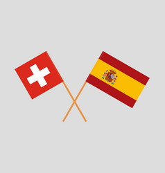 The spanish and swiss flags vector