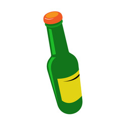Tilted beer bottle with cap - green bottle vector