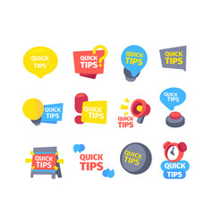 tips quick set hints useful color banners vector image