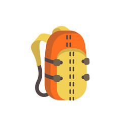 Touristic backpack flat single traveling vector