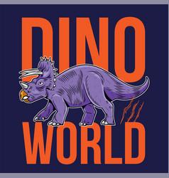 Triceratops big dangerous dino dinosaur vector