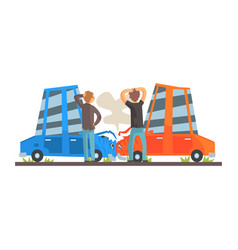 two people crashing their cars car accident vector image