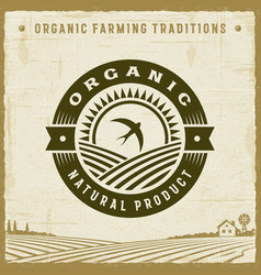 vintage organic natural product label vector image