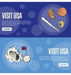 Visit USA Touristic Web Banners vector image