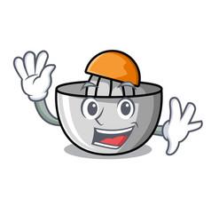 Waving juicer character cartoon style vector