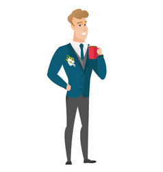 Young caucasian groom holding cup of coffee vector