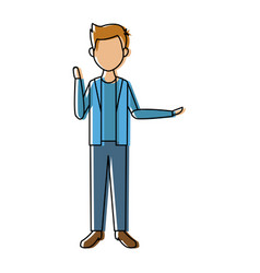 Young man standing with folded arms front view vector
