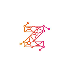 Z letter connect dot network logo icon design vector