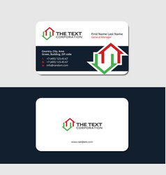 business card with two red and green houses vector image vector image