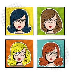 set women sexy beautiful pop art concept vector image
