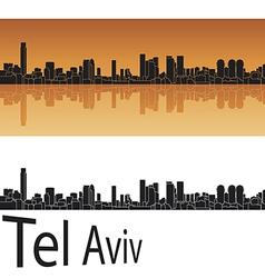 Tel aviv skyline in orange background vector