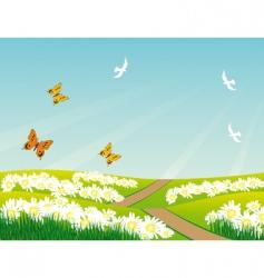 birds butterflies and flowers vector image