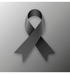 Black awareness ribbon on dark background vector image